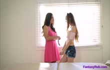 Lesbian MILF with big tits fucking with teen babe