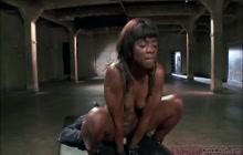 Tight ebony trainee riding huge dick