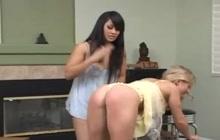Lesbian spanking fun