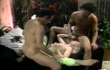 Busty MILF fucked in a threesome old school style