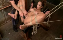 Bound big tits slave made squirting