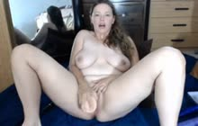 Chubby Brunette Sticks Rubber Cock In Her Pussy