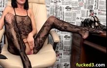 Slutty chick in fishnet masturbation and orgasms