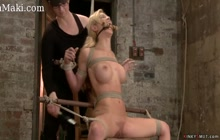 Bound busty lesbian rough toyed