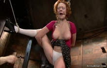 Redhead milf slave finger fucked on hogtie