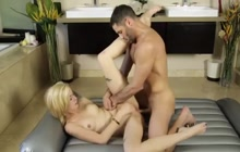 Horny and blonde Haley Reed gets hammered by Damon Dices huge cock