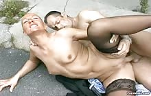 Hot MILF gets her butt fucked outdoor