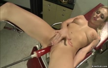 Busty blonde fucking anal machine