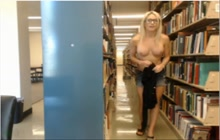 Sexy webcam blonde gets nude in the library