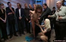 Public anal gang bang for bound slut