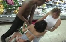 Anal gangbang at the grocery store