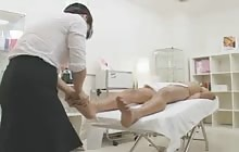 Sexy Japanese girl gives guy a blowjob after massage