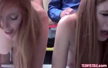 Redhead MILF mom and teen fucked by mall cops on CCTV