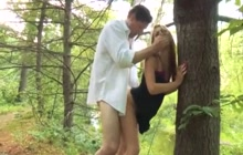 Hot teen screwing with stepdad on a picnic