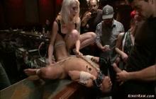 Ebony slave Nikki Darling public fisting fucked