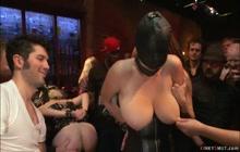 Busty slaves public anal banged