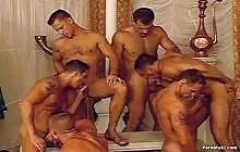 Horny guys fuck each other's tight ass in gangbang
