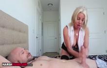 MILF in black lingerie wanking off a guy