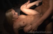 Blonde coed fucked hard at party