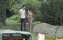 Teen gets anally banged for cum on ass