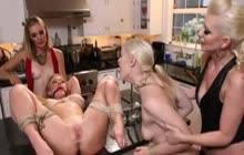 Four lesbian babes kinky play