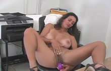 Monster boobed secretary playing with herself