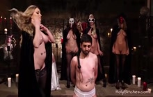 Slave boy getting dominated by four mistresses