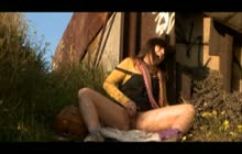 Hippy girl masturbates outdoors