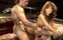 Derek Lane and Racquel Darrian on the back seat