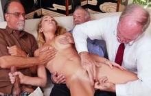 Pretty Raylin Ann with older guys