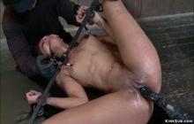 Gagged ebony whipped and toyed