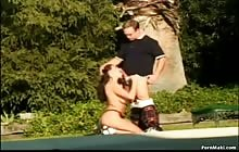 Big tit brunette chick gets anal fucked outdoor