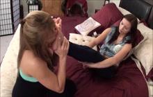 MILF licking teen girl's feet