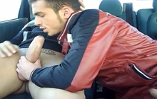 Gay lovers doing it in the car