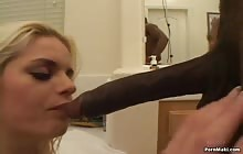 Gorgeous blonde gets banged by a BBC in the bathroom