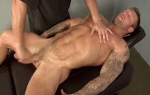 Bodybuilder getting a massage and a blowjob