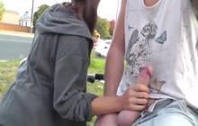Kinky amateur couple in public