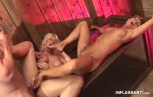 Lusty German sluts enjoy threesome fucking